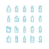 Plastic bottles line vector icons set Royalty Free Stock Photos
