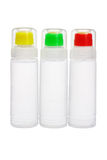 Plastic bottles of liquid glue Stock Image
