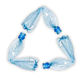 Plastic bottles making up recycle symbol Royalty Free Stock Photo