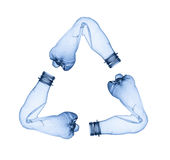 Plastic bottles making up recycle symbol Royalty Free Stock Photos
