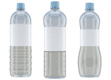 Plastic bottles mockup  on white background. Different shaped transparent plastic bottle mockups  on white background Royalty Free Stock Photography