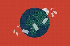The Plastic Bottles and Moon in Earths Orbit. Vector Illustration in Retro Colors Stock Photos