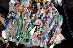 Plastic bottles on pile, ready to get recycled. Recycling of old plastic bottles. Pile of packed and recycling. Plastic bottles on pile, ready to get recycled Royalty Free Stock Photography