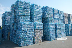Plastic bottles pressed and packed for recycling Stock Photos