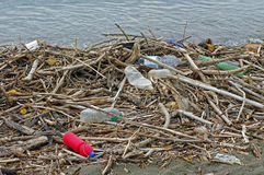 Plastic bottles that a river brings into the Mediterranean Sea Italy, September 2016. Environmental pollution of the sea with plastic bottles Royalty Free Stock Photos