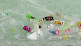 Plastic bottles in a river