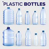 Plastic Bottles Set Vector. Different Types Of Bluer Classic Water Bottle With Cap. Container For Drink, Beverage. Liquid, Soda, Juice. Branding. Realistic vector illustration