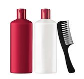 Plastic bottles shampoo and black comb isolated on white Stock Image
