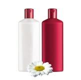 Plastic bottles shampoo isolated on white Stock Photo
