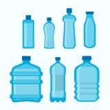 Plastic bottles shapes vector isolated flat icons set Stock Image