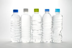 Plastic bottles. Shot in white back plastic bottles filled with water royalty free stock image