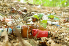 Plastic bottles spoil and pollute the ecological state of nature. Stock Images
