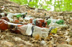 Plastic bottles spoil and pollute the ecological state of nature. Plastic bottles spoil and pollute the ecological state of nature Royalty Free Stock Photography