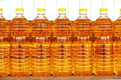 Plastic bottles with sunflower oil