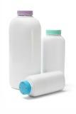 Plastic bottles of talcum powder Stock Photo