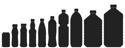 Plastic bottles of various sizes. Set of vector illustrations. B. Lack silhouettes isolated on white. Different contours of bottles for water, lemonade, soda or Stock Image