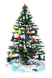 Plastic bottles waste decorating a christmas tree Stock Photos