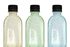 Plastic bottles with water drops on skins Stock Photo