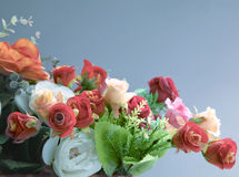 Plastic bouquet flowers in vintage color style Stock Photos