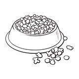 Plastic bowl filled with dry pelleted pet, cat, dog food. Blue shiny plastic bowl filled with dry pelleted food for pet, cat, dog, black and white sketch style Royalty Free Stock Photos