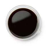 Plastic bowl of soy sause. Isolated on white. Top view stock photography