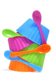 Plastic bowls. Of different colors on a white background Royalty Free Stock Images