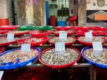 Plastic bowls with delectable fresh shellfish standing on stall in market. In Napoli, Italy royalty free stock photography
