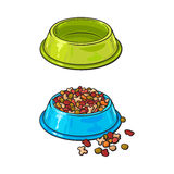 Plastic bowls, empty and filled with pet, cat, dog food. Two shiny plastic bowls, one empty, another filled with dry pet, cat, dog food, sketch vector Stock Images