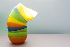 Plastic bowls in the kitchen. Against blur background Royalty Free Stock Photography