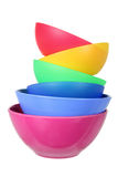 Plastic Bowls. On White Background royalty free stock photography