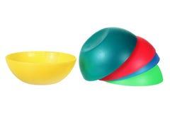 Plastic Bowls. On White Background royalty free stock photos