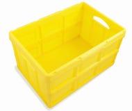 Plastic box. Yellow plastic box isolated on white background Stock Photos
