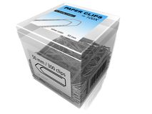 Plastic Box of Big Paper Clips. Transparent plastic box full of large paper clips Royalty Free Stock Photography