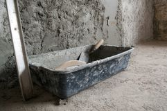 Plastic box with cement Royalty Free Stock Photo