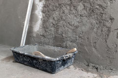 Plastic box with cement Royalty Free Stock Images