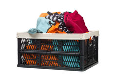 Plastic box with clothing donations Royalty Free Stock Photos