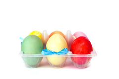 A plastic box with easter eggs Royalty Free Stock Images