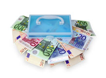 Plastic box with euro banknotes. Stock Photo