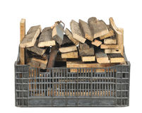 Plastic box with firewood Stock Photos