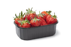 Plastic box with fresh strawberries Stock Image
