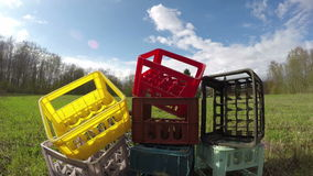 Plastic box heap, time lapse 4K stock video footage