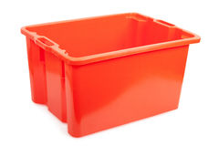 Plastic box. Red plastic box isolated on white background Royalty Free Stock Photography