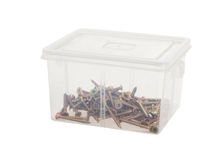 Plastic box with screws Stock Photo