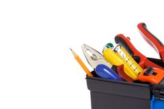 Plastic box with tools. Isolated plastic box with tools Royalty Free Stock Photo