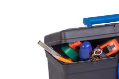 Plastic box with tools Stock Photography