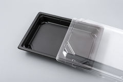 Plastic box with transparent cover for food Stock Photos