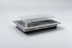 Plastic box with transparent cover for food Royalty Free Stock Image