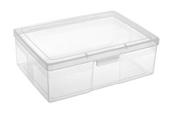 Plastic box. Transparent plastic box isolated on white background Royalty Free Stock Photos
