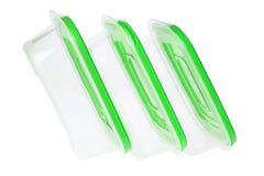 Plastic Boxes. On White Background stock photos