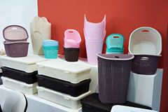 Plastic boxes, baskets and containers for home storing. Plastic boxes, baskets and containers for storing household items Stock Photos
